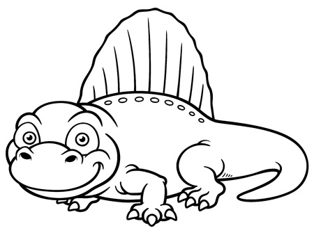 Vector illustration of dinosaur dimetrodon