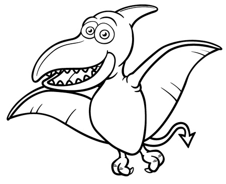 Vector illustration of Cartoon pteranodon - Coloring book Illustration