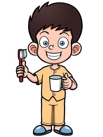 mindennapi: Vektoros illusztráció Boy fogmosás fogát