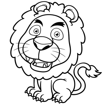 Vector illustration of Lion cartoon - Coloring book Vector