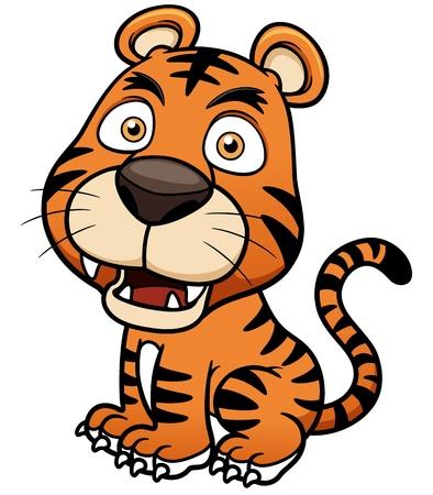 sumatran: Vector illustration of Tiger cartoon - Coloring book