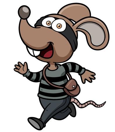 rata caricatura: Ilustraci�n vectorial de dibujos animados Rata ladr�n corriendo Vectores