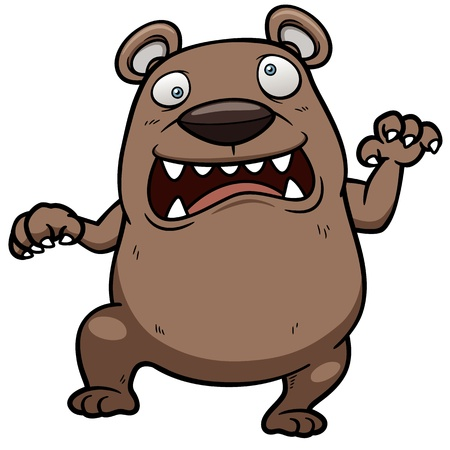 Vector illustration of cartoon angry bear Vector