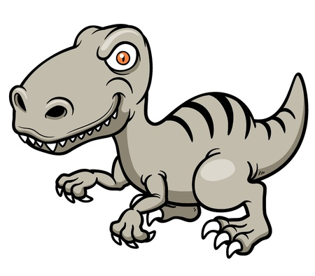 raptor: Vector illustration of cartoon dinosaur