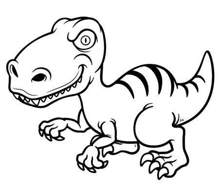 dinosaur cute: Vector illustration of cartoon dinosaur - Coloring book