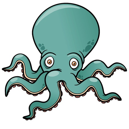 Vector illustration of Cartoon octopus Vector