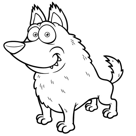 illustration of Cartoon wolf - Coloring book Vector