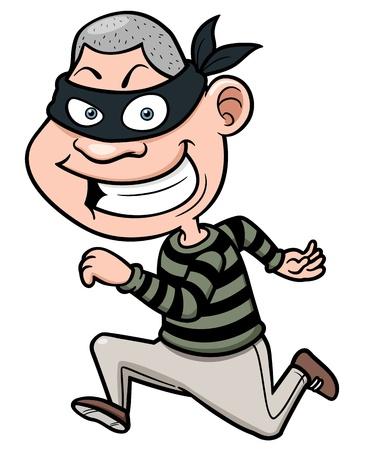 サイレント: 実行している漫画泥棒のベクトル イラスト