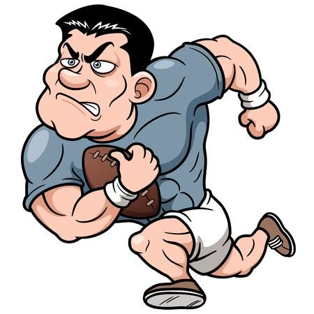 pelota de rugby: Ilustración vectorial de dibujos animados jugador de rugby Vectores