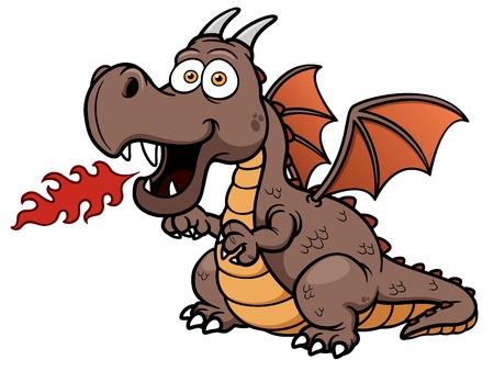 drago alato: Illustrazione vettoriale di cartone animato drago di fuoco