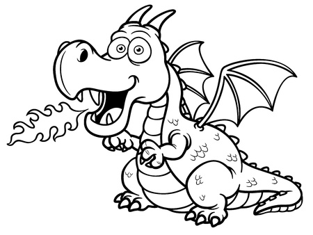 winged dragon: Vector illustration of cartoon dragon fire - Coloring book
