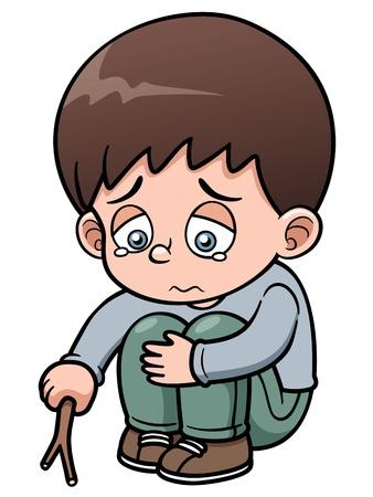 niños tristes: Ilustración de un niño triste