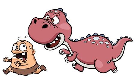 chasing: Illustration of Dinosaur chasing a caveman