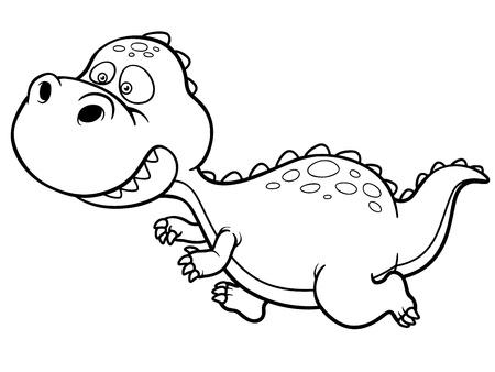 t rex: Illustration of cartoon dinosaur running - Coloring book