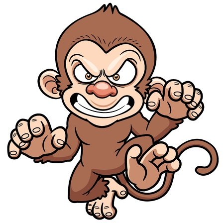 illustration of cartoon Angry monkey 向量圖像