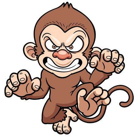 mono caricatura: ilustración de dibujos animados mono enojado
