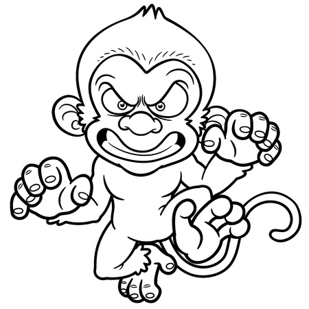 illustration of cartoon Angry monkey - Coloring book Vector