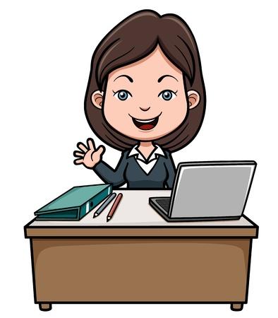 attire: illustration of A business woman cartoon