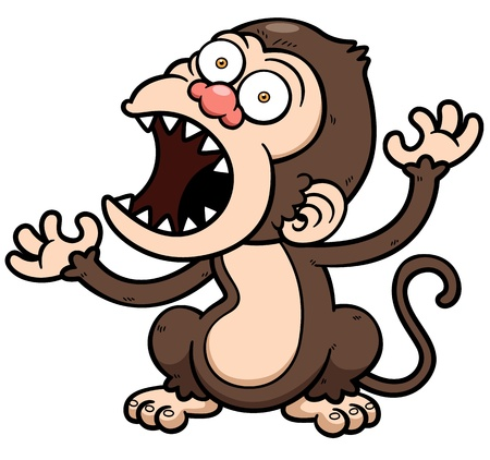 monkey clip: Vector illustration of cartoon Angry monkey Illustration