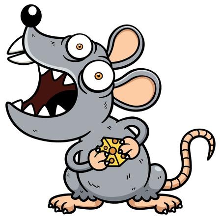 rata caricatura: Ilustración del vector de la historieta de la rata Angry Vectores