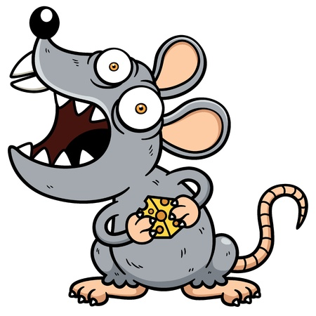 Vector illustration of Cartoon Angry rat