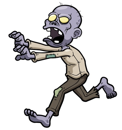 hombres corriendo: Ilustraci?n vectorial de dibujos animados zombie