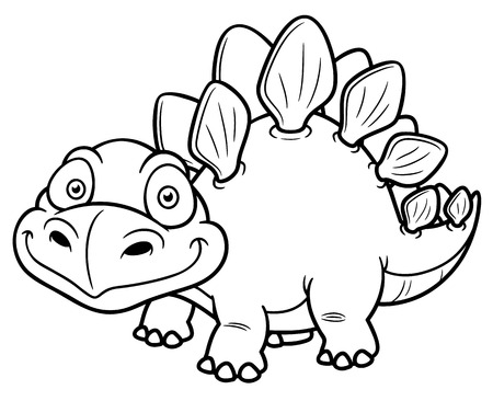 Vector illustration of Cartoon dinosaur - Coloring book Illustration