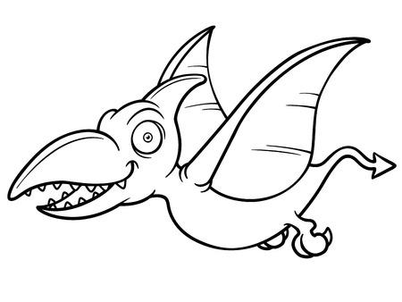 Ilustración Vectorial De Pteranodon Cartoon - Libro Para Colorear ...