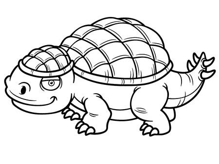 dinosaurio caricatura: Ilustraci�n del vector del dinosaurio del libro de dibujos animados para colorear-