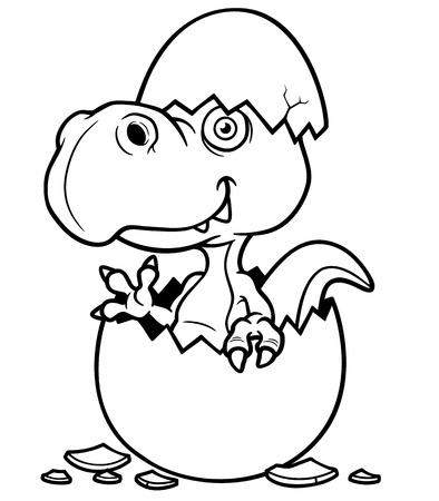 dinosaur egg: Vector illustration of Cartoon Dinosaur baby - Coloring book