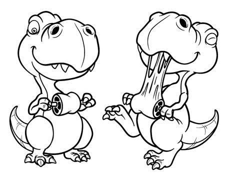 jurassic: Vector illustration of Cartoon dinosaur - Coloring book Illustration