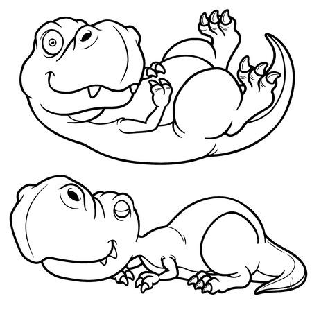 dinosaurio caricatura: Ilustraci?n vectorial de dinosaurio de la historieta - Coloring book
