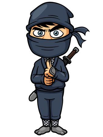 samourai: Vector illustration de Ninja de bande dessin�e