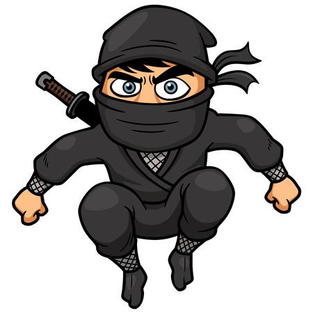 guerrero samurai: Ilustraci�n del vector de Ninja Cartoon Vectores