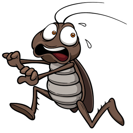 Vector illustration of cartoon cockroach running