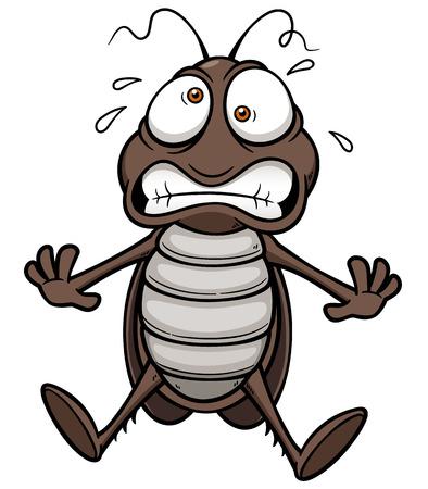 Vector illustration of cartoon cockroach scared