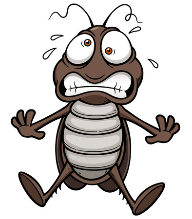 Vector illustration of cartoon cockroach scared