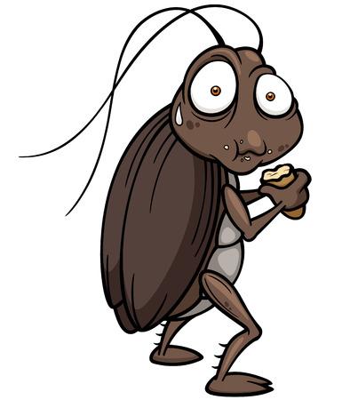 Vector illustratie van cartoon kakkerlak eten