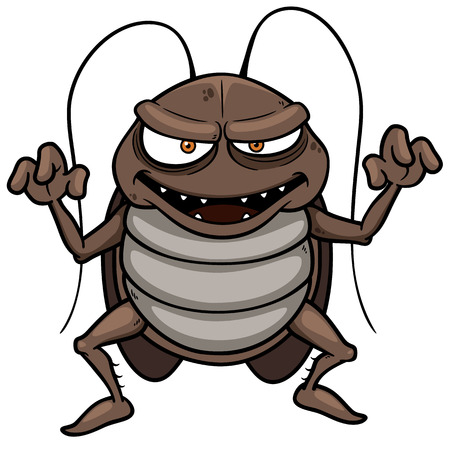 Vector illustration of cartoon cockroach Иллюстрация