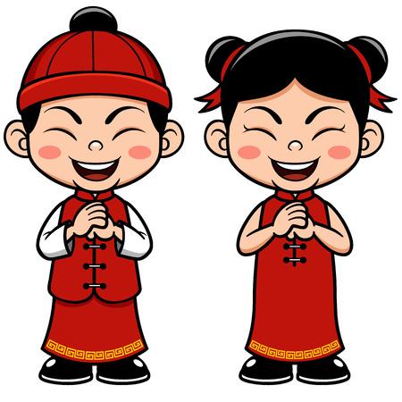 niños chinos: Ilustración vectorial Niños chinos Vectores