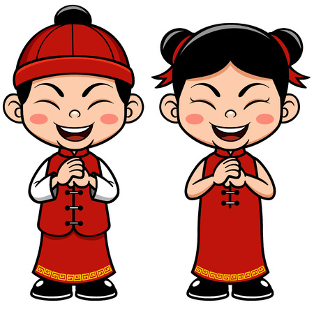 happy new year card: Vector illustration Chinese Kids