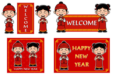 happy new year card: Vector illustration of Chinese Kids with sign