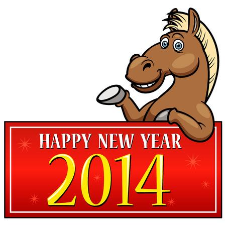 caballo caricatura: Caballo de la historieta con el A�o Nuevo Entrar