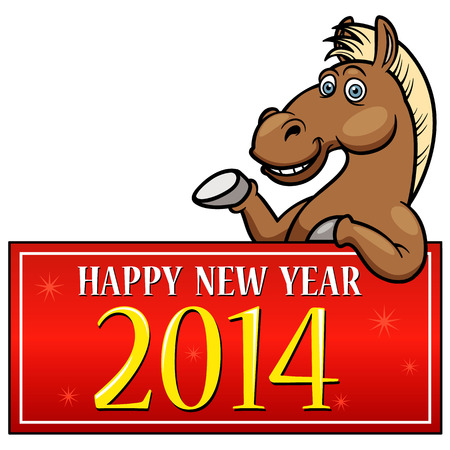 new opportunity: Cartoon Horse with New year Sign