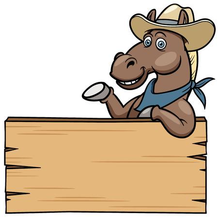 caballo caricatura: Caballo de la historieta con el cartel de madera