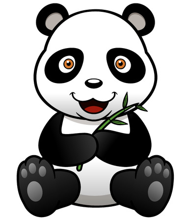 Vector illustration of panda cartoon with bamboo Vector