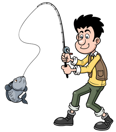 Vector illustration of Cartoon Boy fishing Illustration
