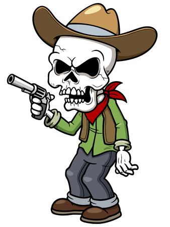Vector illustration of Cartoon cowboy zombie Vector