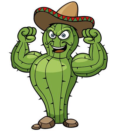 caricatura mexicana: Ilustración del vector de la historieta del cactus mexicano