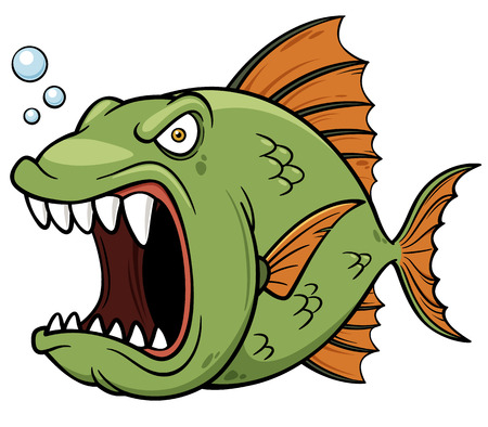slit: Vector illustration of angry fish cartoon